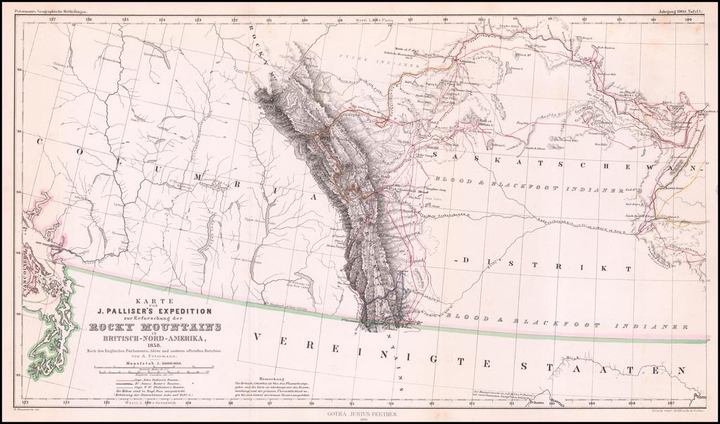 Karte Von J. Palliser's Expedition zur Erforschung der Rocky Mountains In Britisch-Nord-Amerika, 1858. . . . By Augustus Herman Petermann