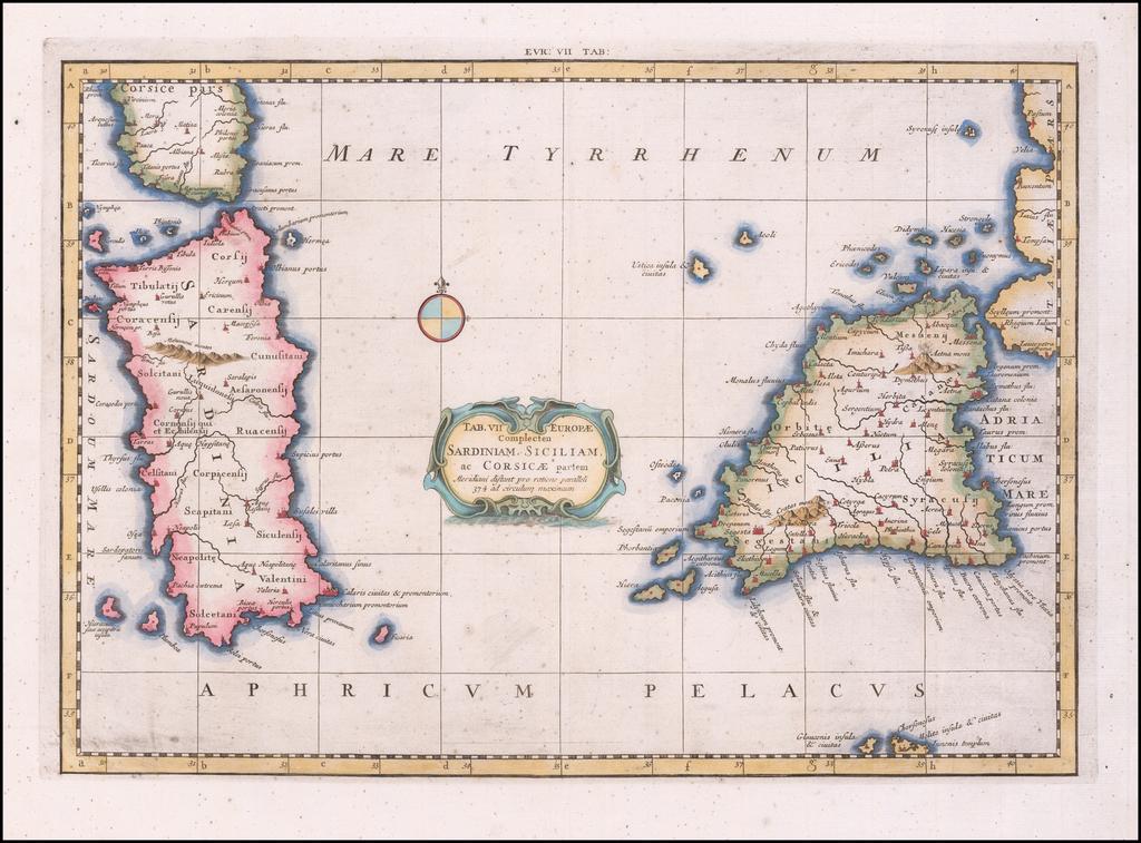 Tab. VII Europeae Complecten Sardiniam, Siciliam, ac Corsicae partem . .  By  Gerard Mercator