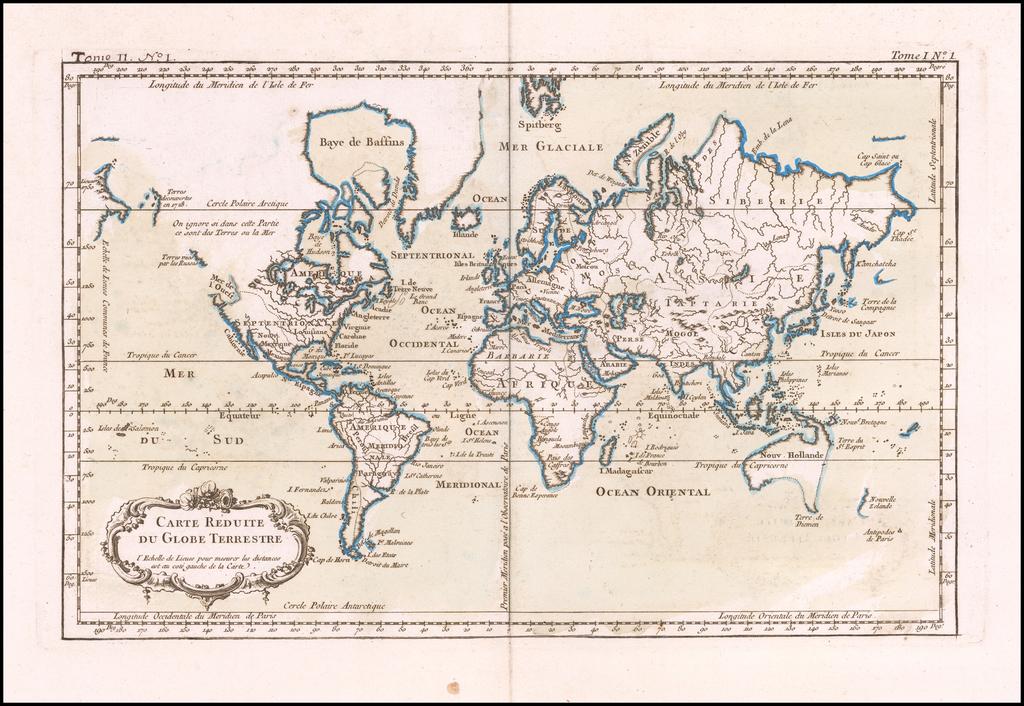 Carte Reduite Du Globe Terrestre By Jacques Nicolas Bellin