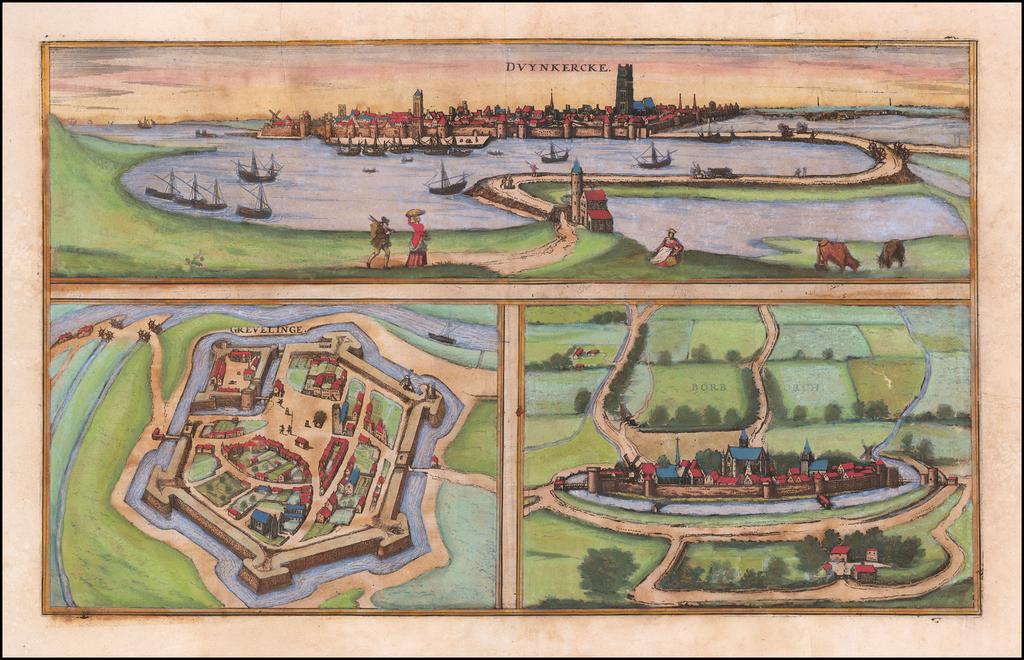(Dunkerque, Gravelines and Bourbourg) Duynkercke / Grevelinge / Borborch By Georg Braun  &  Frans Hogenberg