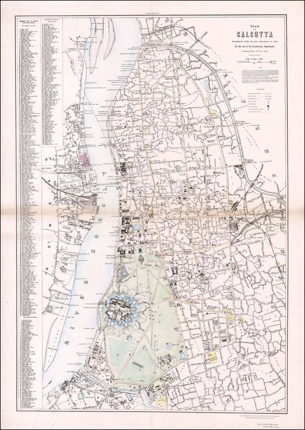 Plan of Calcutta Reproduced From The Map Published in 1854 for the use of the Conservancy Department Corrected up to 1874 By Ralph Smyth
