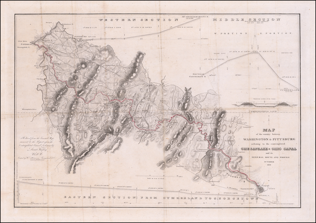 Map of the Country between Washington & Pittsburg refering to the contemplated Chesapeake & Ohio Canal and its General Route and Profile.  October 1826 By United States War Dept.