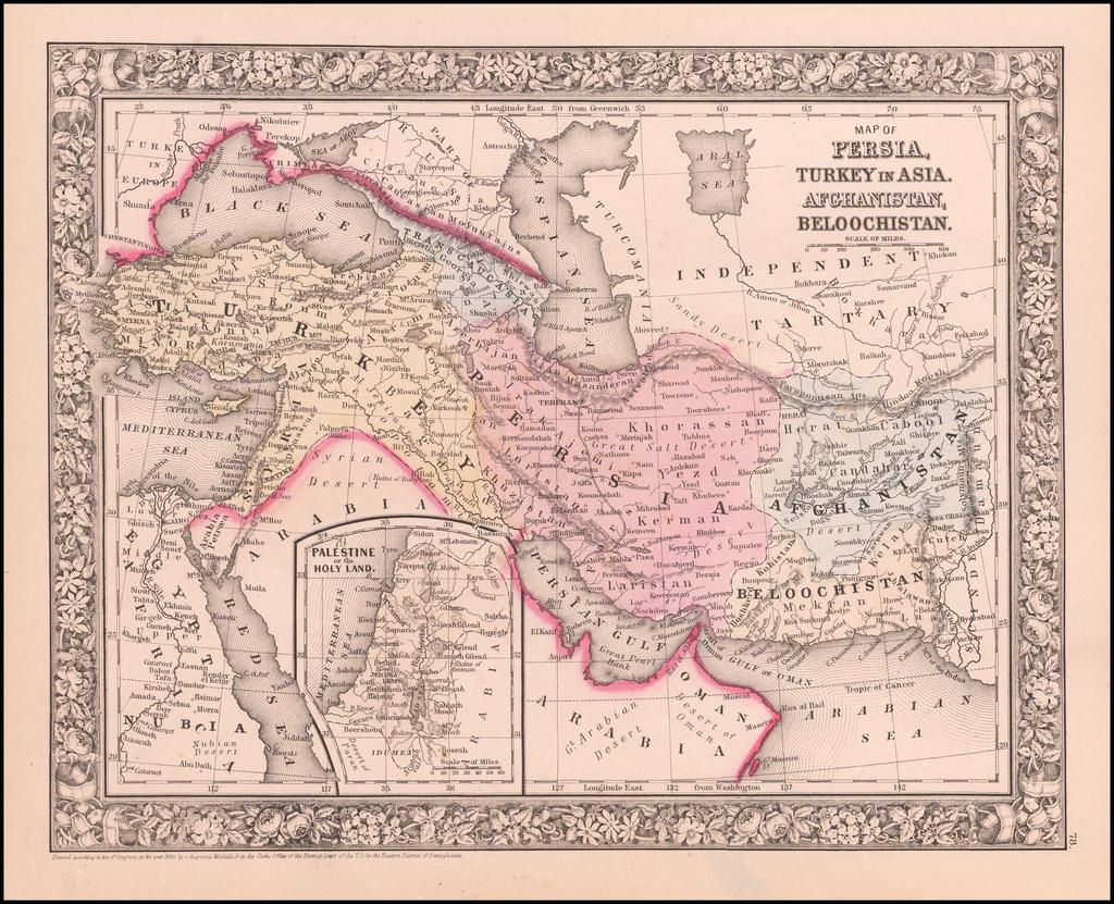 Map of Persia, Arabia, Turkey in Asia, Afghanistan, Beloochistan. By Samuel Augustus Mitchell Jr.