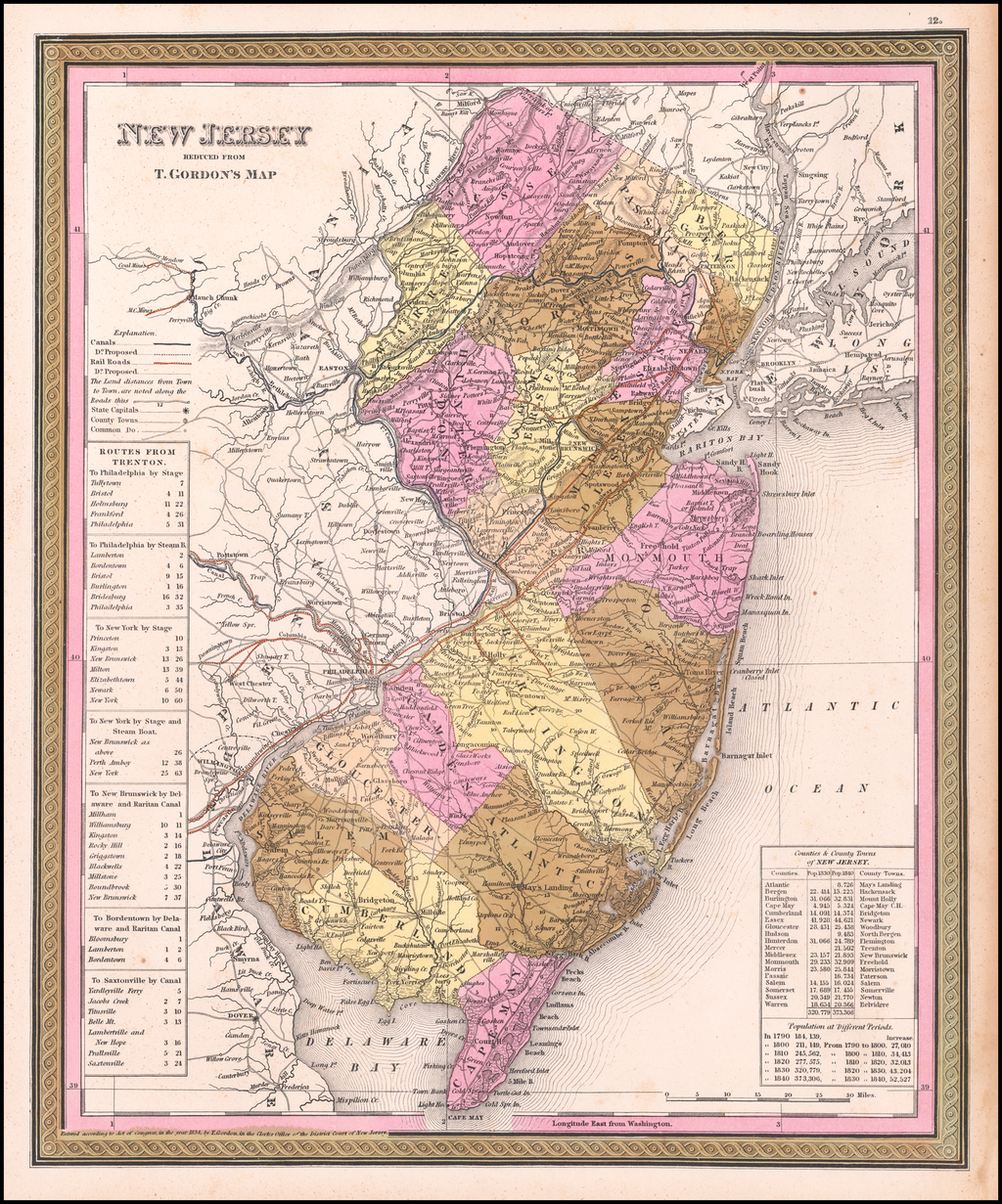 New Jersey Reduced From T. Gordon's Map. By H.S. Tanner.   By Henry Schenk Tanner