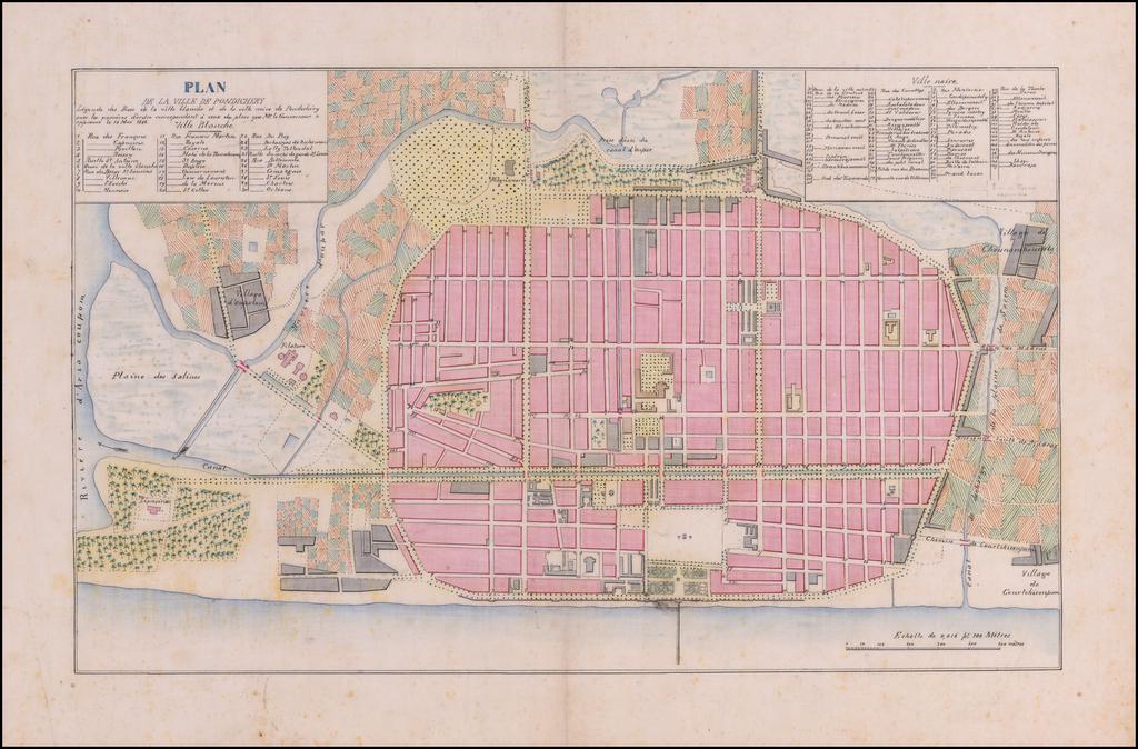 [Puducherry]  Plan de la Ville de Pondichery.   Legende des Rues de la ville blanche et de la ville noire de Pondichery avec les numeros d'ordre correspondant a ceux du plan dque Mr. le Gouvernor a approuve le Mai 1856 By Anonymous