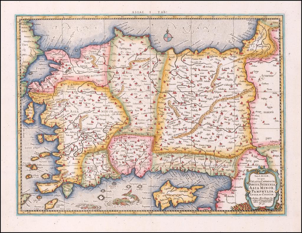 Tab. I. Asiae, in qua Galatia, Cappadocia, Pontus, Bithynia, Asia Minor, Pamphylia, Lycia ac Cilicia . . .  By Gerhard Mercator