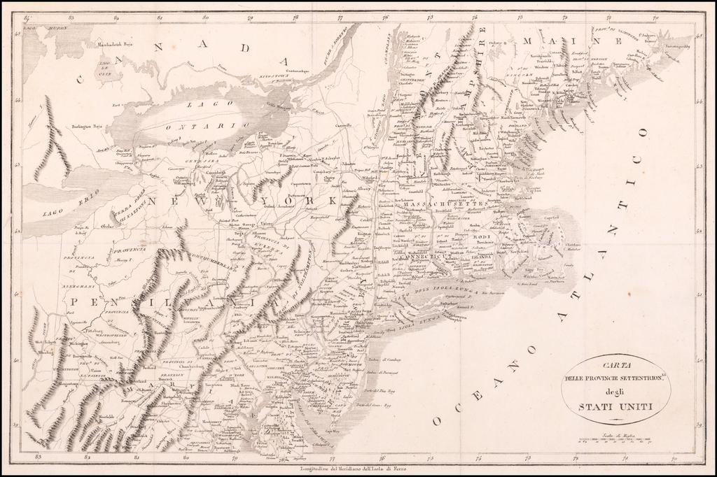 Carta Delle Provincie Settentrionli. degli Stati-Uniti By Francois A.F. La Rochefoucault-Liancourt