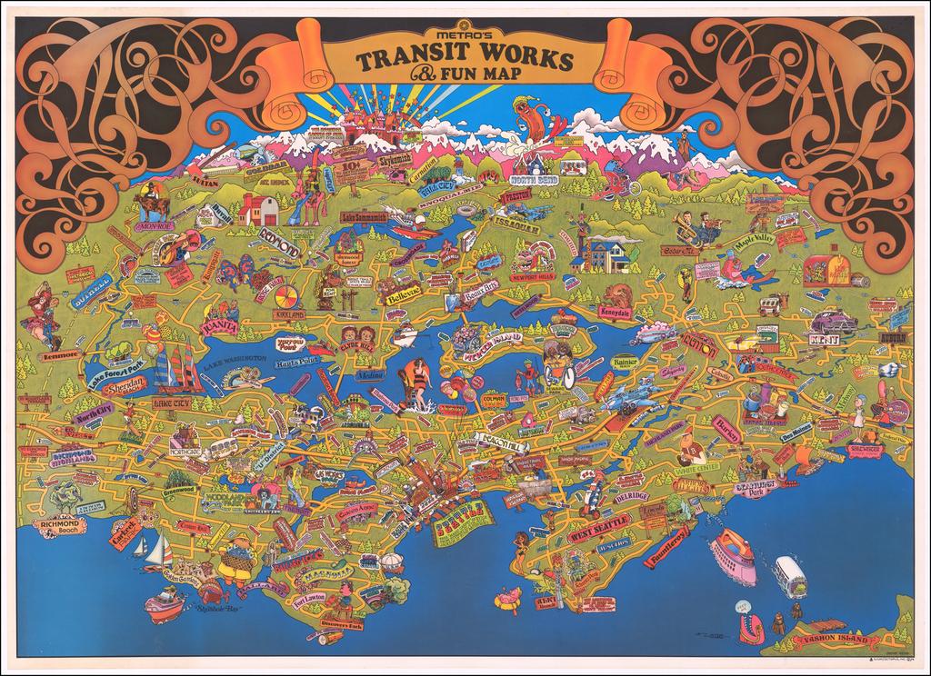 (Seattle Metro)  Metro's Transit Works & Fun Map By Bruce Webb