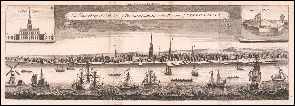 The East Prospect of the City of Philadelphia in the Province of Pennsylvania By London Magazine