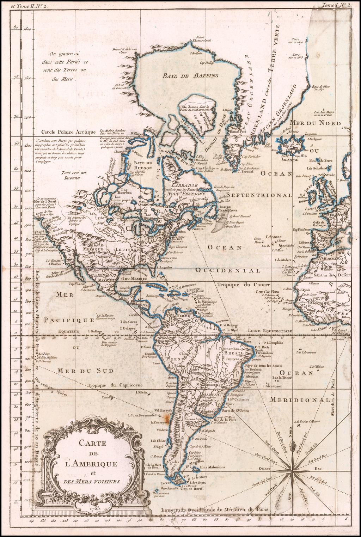 Carte De L'Amerique et Des Mers Voisines . . . 1763 By Jacques Nicolas Bellin