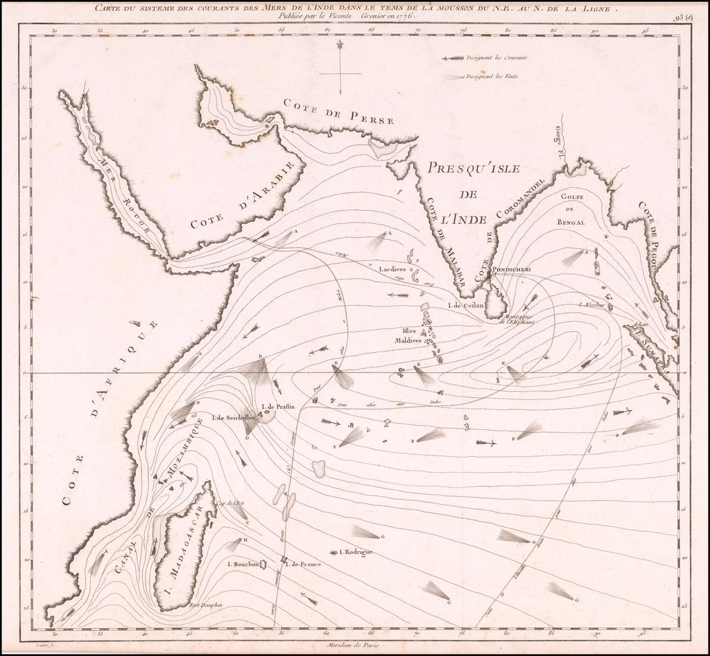 Carte du Sisteme des courants des Mers de L'Inde dans le tems de la mousson du N.E. au N. de la Ligne.  Publiee par Vicomte Grenier en 1776 By Jacques Raymond Giron de  Grenier