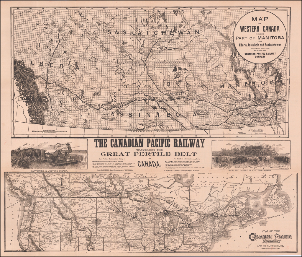 Map of Western Canada including Part of Manitoba and Alberta, Assiniboia and Saskatchewan Shewing System of Land Survey and the Lines of the Canadian Pacific Railway Company (with) Map of the Canadian Pacific Railway and Its Connections By Matthews-Northrup & Co.