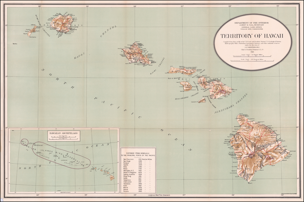 Map Of The Territory of Hawaii Compiled From data on file in the U.S. Coast and Geodetic Survey, Hydrographic Office: Hawaiian Government Surveys & other authentic Sources  . . . 1925 By U.S. General Land Office