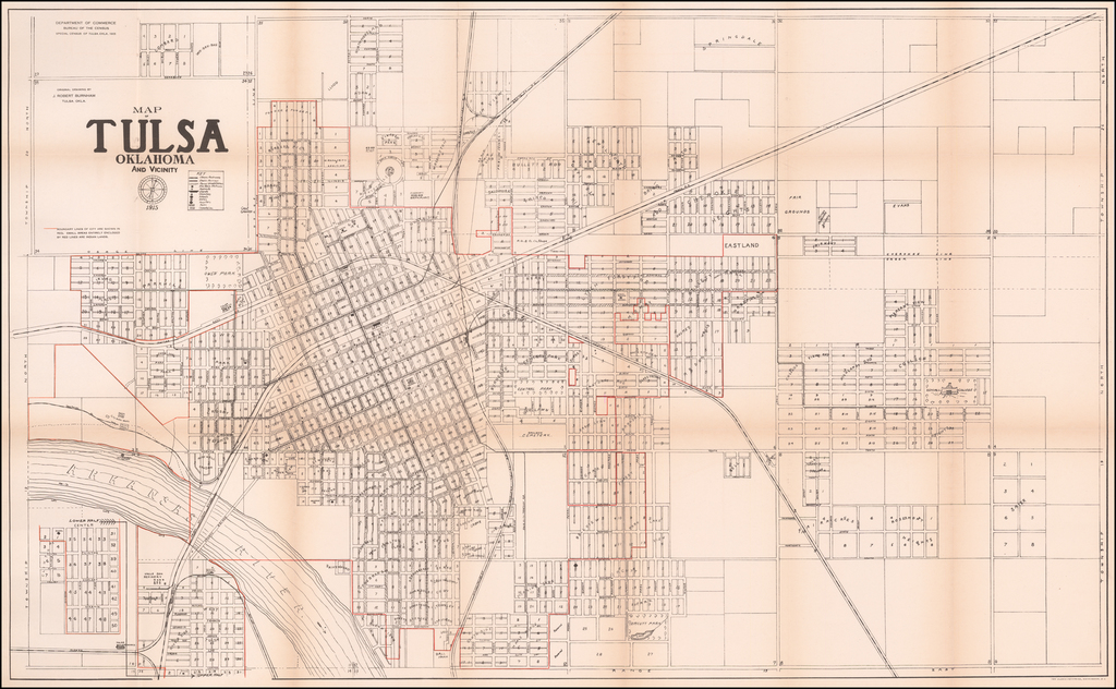 Map of Tulsa Oklahoma and Vicinity 1915 By United States GPO