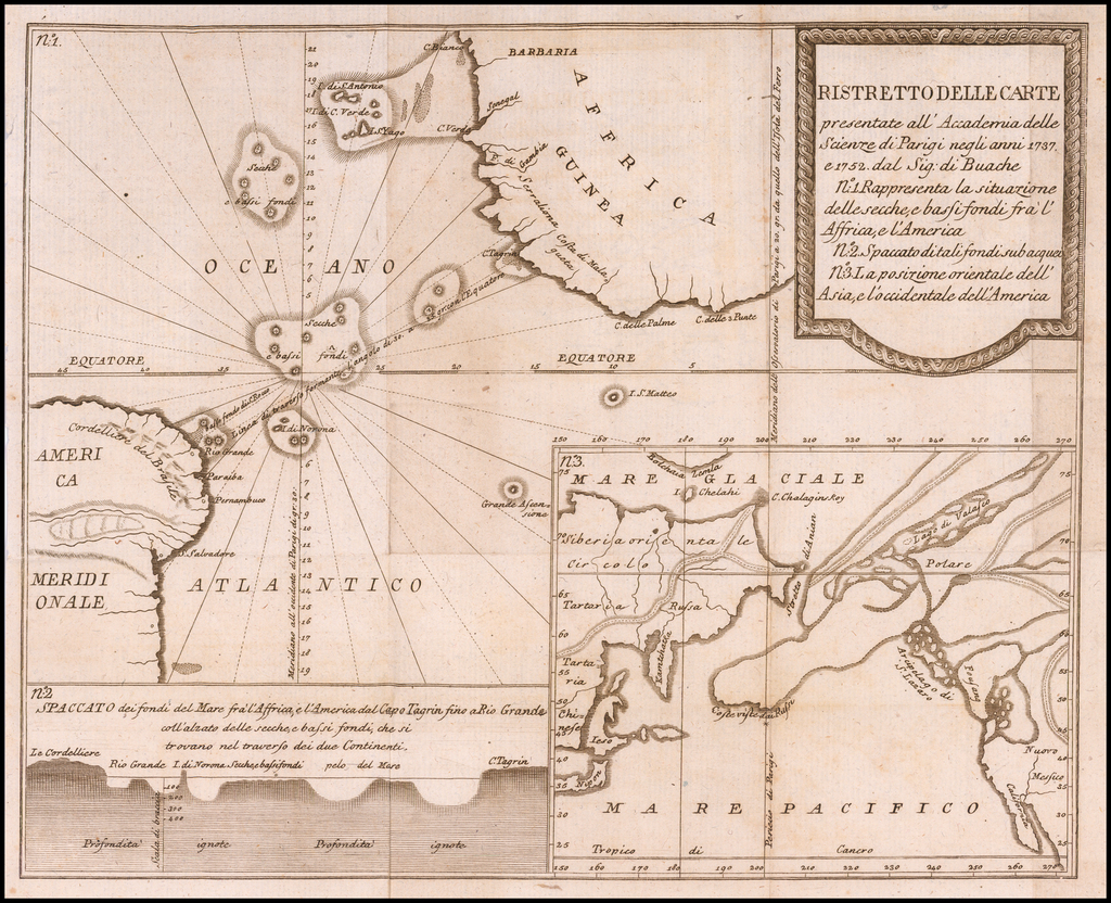 Ristretto Delle Carte presentate all' Academia delle Scienze di Parigi negli anni 1737 e 1752 dal Sig di Buache By Giovanni Rinaldo Carli