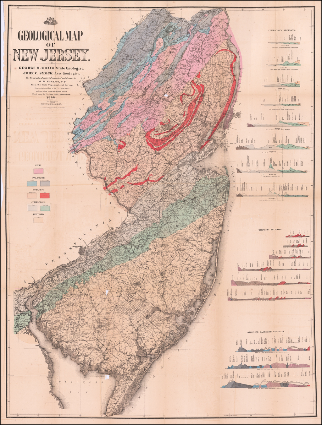 Geological Map of New Jersey . . . 1868 By James Cook