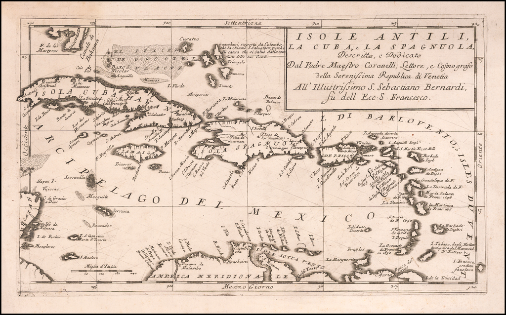 Isole Antili, La Cuba, La Spagnuola, Descrtitte e Dedicato Dal Padre Maestro Coronelli . . . By Vincenzo Maria Coronelli