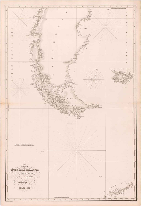 Carte des Cotes de la Patagonie et des Mers du Cap Horn Dressee d'apres de Travaux du Cap.e R. Fitz Roy de la Marine Britannique . . . 1853 By Aime Robiquet