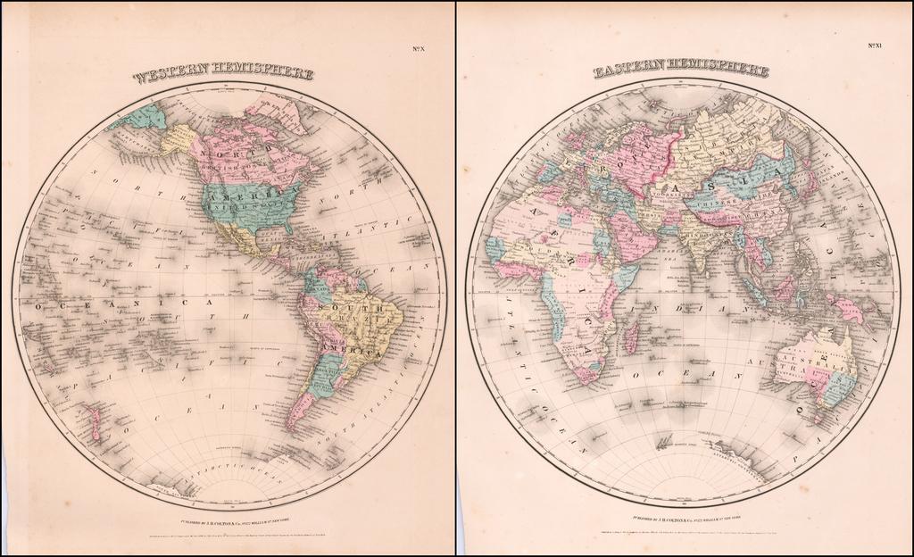 Eastern Hemisphere [with] Western Hemisphere By Joseph Hutchins Colton