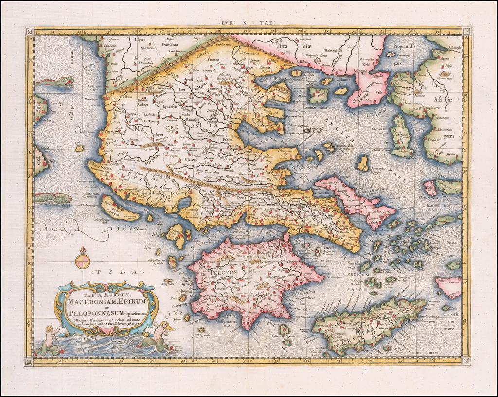 Tab. X. Europae  Macedoniam, Epirum ac Peloponnesum repraesentans . . . By Gerhard Mercator