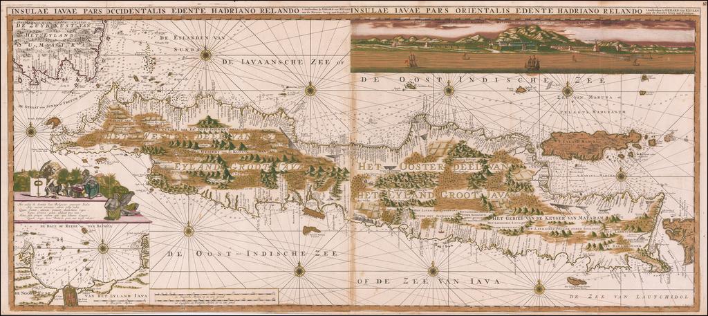 Insulae Iavae Pars Occidentalis Edente Hadriano Relando . . . Insulae Iavae Pars Orientalis Edente Hadriano Relando  By Gerard Van Keulen
