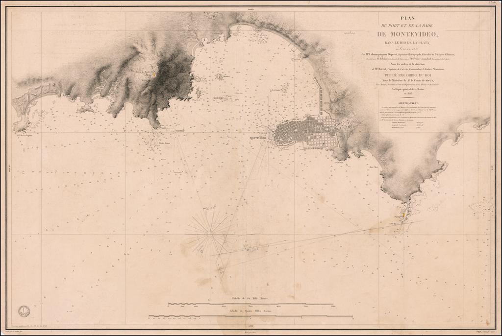 Plan du Port et de la Rade de Montevideo, dans Le Rio de la Plata, Leve en 1831, Par Mr. Lebourguignon Duperre, Ingenieur-Hydrographe, Chevalier de la Legion d'Honneur . . .  1833 By Depot de la Marine