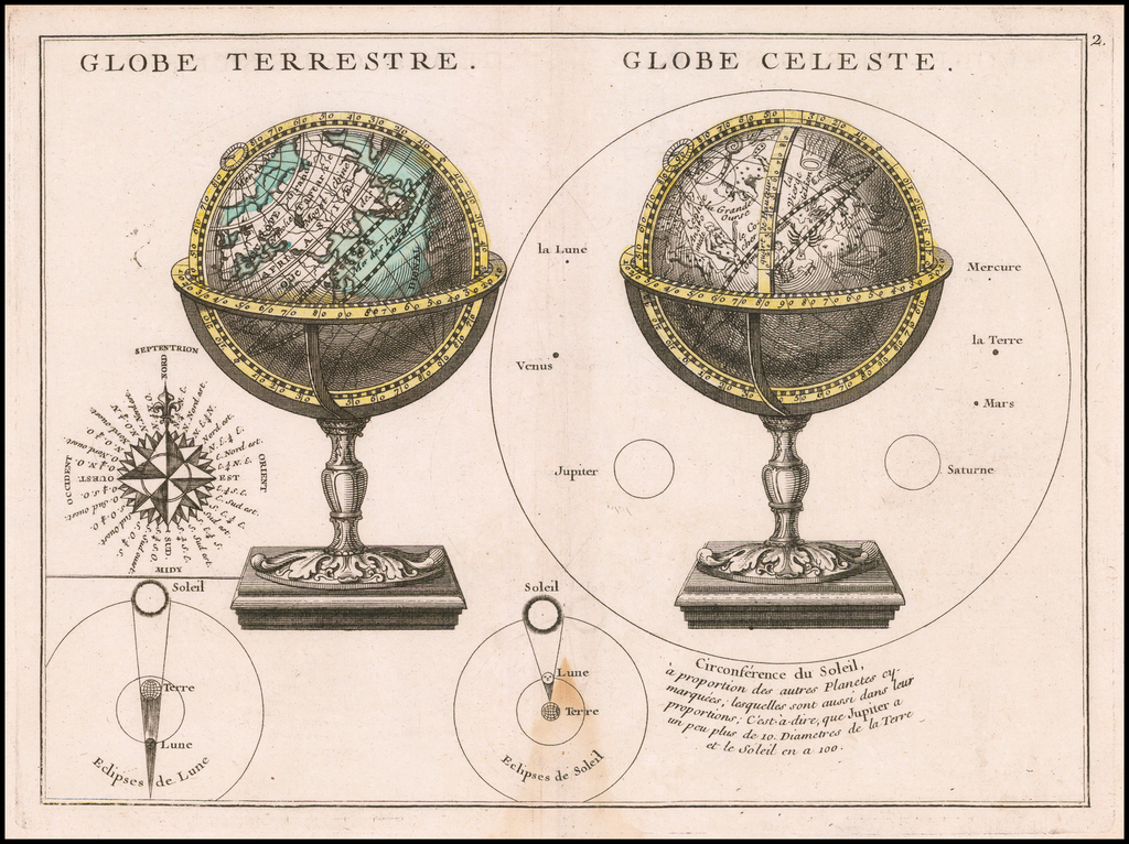 Globe Terrestre (with) Globe Celestre (with) Compass Rose, &c By George Louis Le Rouge