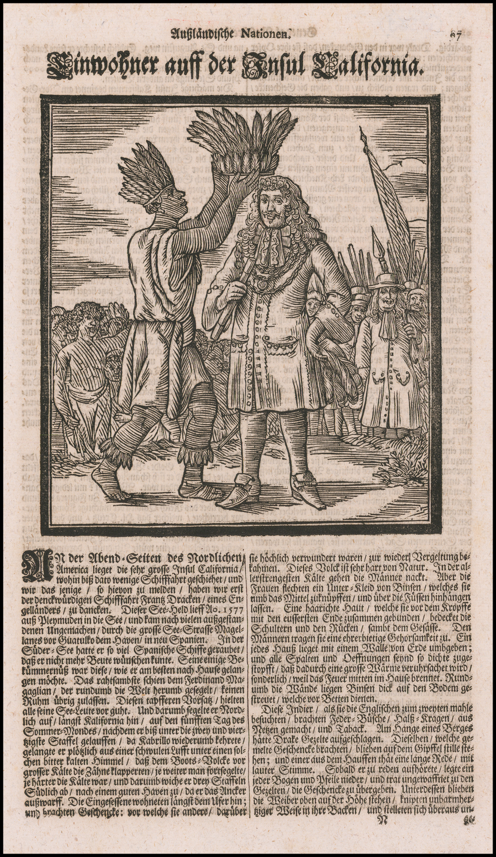[Sir Francis Drake Honored By The Natives of the Island of California]  Einwohner auff der Insul California By Eberhard Werner  Happel