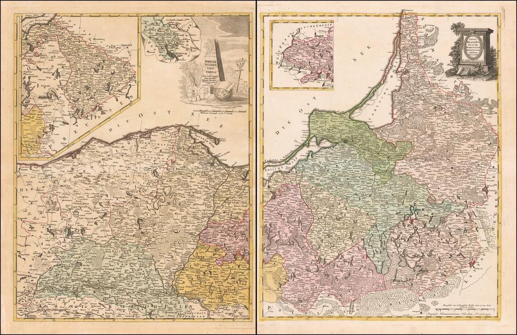 Tabula Regni Borussiae Borussiam Orientalem exhibens MDCCLXXV [and] Borussiae Occidentalis Tabula . . . 1780 By Franz Ludwig Gussefeld