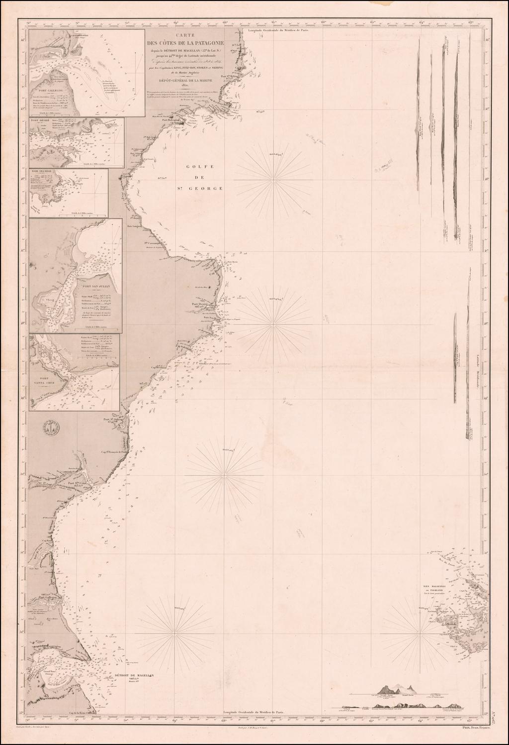 Carte Des Cotes la Patagonie depuis le Detroit de Magellan (53° de Lat S.) jusqu'au 44.eme de Latitude meridionale d'apres les travaux executes de 1828 a 1834, par les Capitaines King, Fizt-Roy,  Stokes et Skiring de la Marine Anglaise  1851 By Depot de la Marine