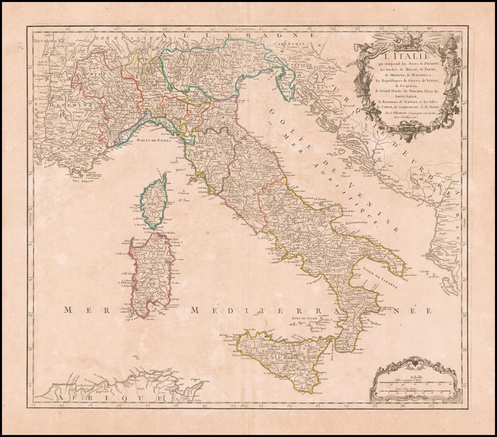 L'Italie qui comprend les Etats de Piemont, les Duches de Milan, de Parme, de Modene, de Mantoue &c.  les Republiques de Genes, de Veinse, de Luques &c.  le Grande Duche de Toscane, l'Etate du Saint-Siege, le Royaume de Naples, et les Isles de Corse, de Sardaigne, et de Sicile  . . . 1750 By Didier Robert de Vaugondy