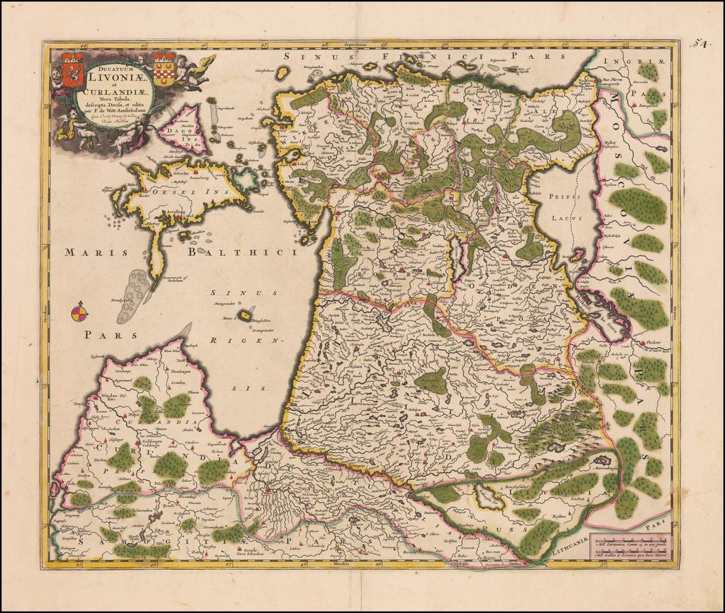Ducatuum Livoniae, et Curlandiae, Nova Tabula, descripta, Divisa, et edita . . .  By Frederick De Wit