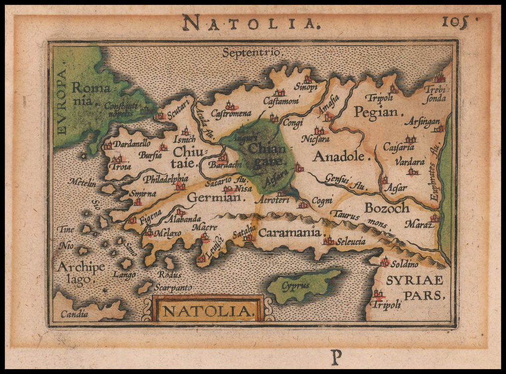 Natolia (with Cyprus) By Petrus Bertius