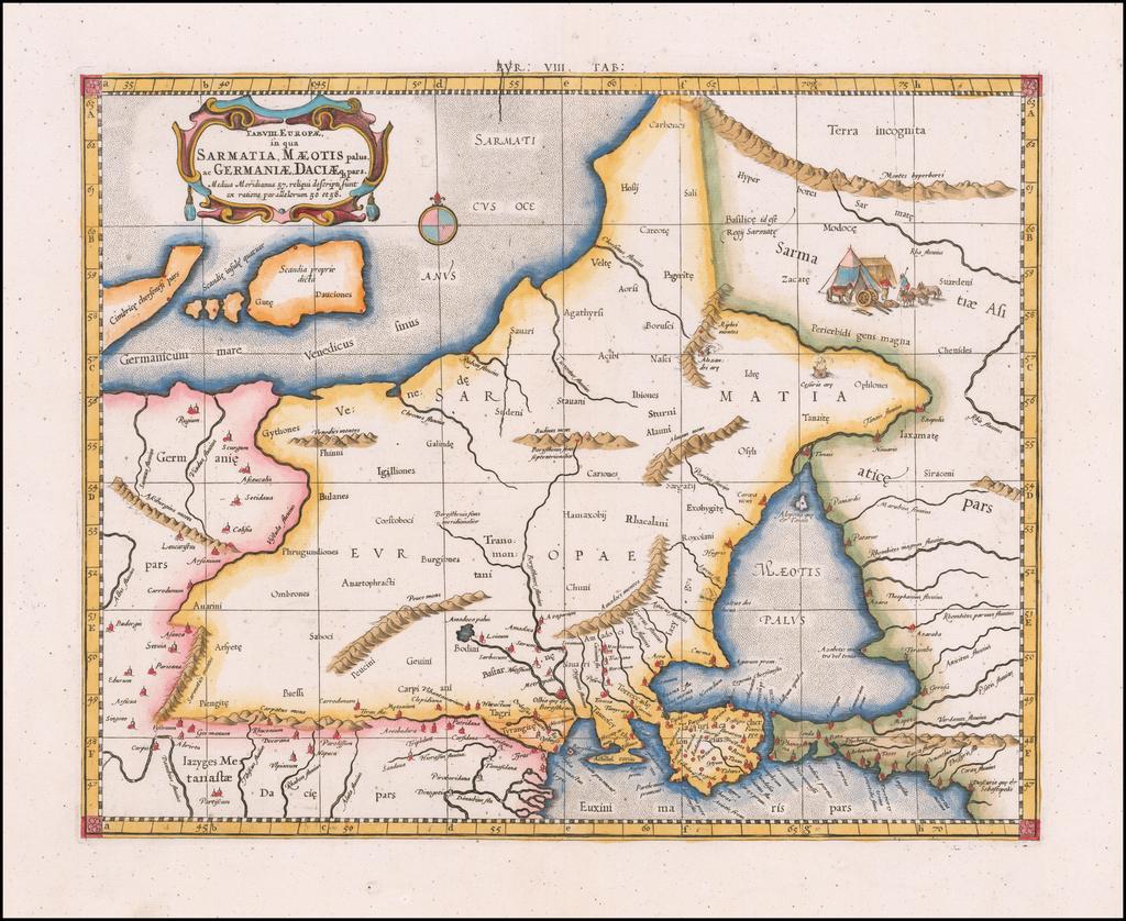Tab. VIII. Europae, in qua Sarmatia, Maeotis palus ac Germaniae, Daciaque pars . . . By  Gerard Mercator
