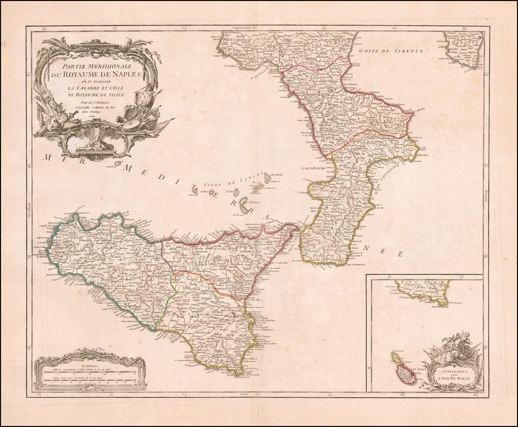 Partie Meridionale Du Royaume De Naples, ou se trouvent La Calabre et L'Isle et Royaume De Sicile [Large inset of Malta] By Didier Robert de Vaugondy