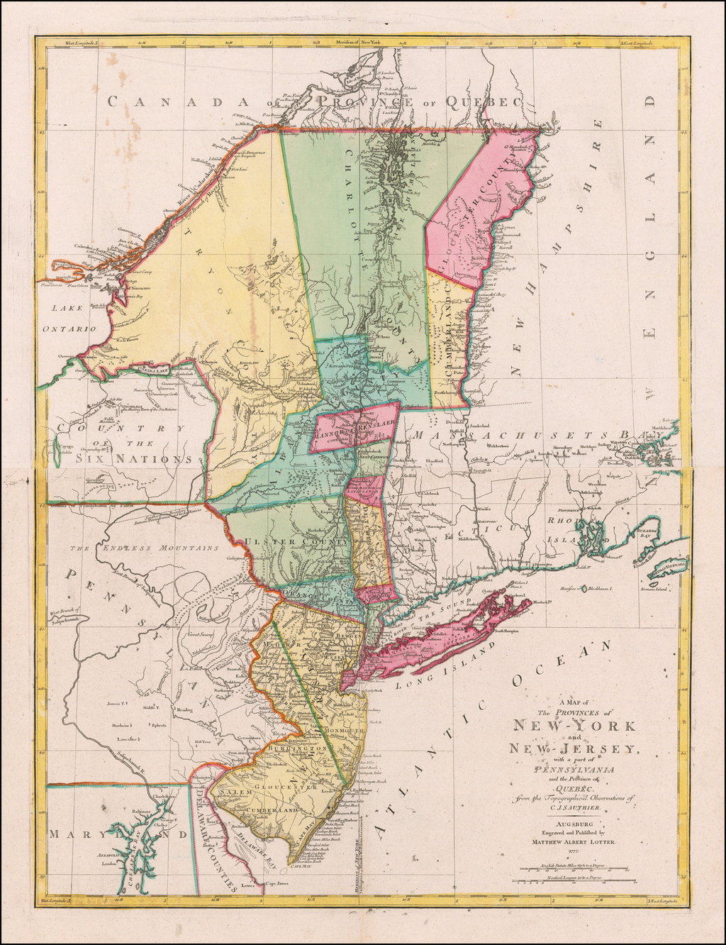 A Map of the Provinces of New-York and New-Jersey, with a part of Pennsylvania and the Province of Québec . . . 1777 By Mathais Albrecht Lotter