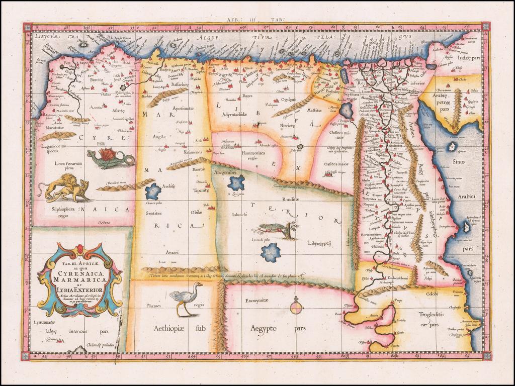 Tab. III. Africae, in qua Cyrenaica, Marmarica, ac Lybia Exterior . . . By  Gerard Mercator