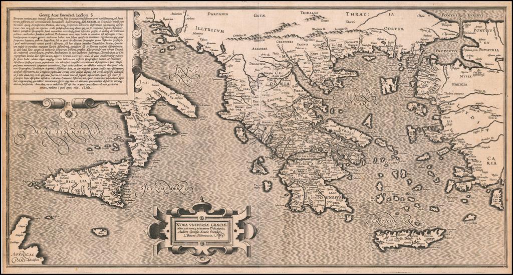 Nova Unversae Graeciae adiacentiumque terrarum Descriptio, Auctore Georgia Acacio Enenckel, L Barone Hoheneccio By George Achatz von Enenckel