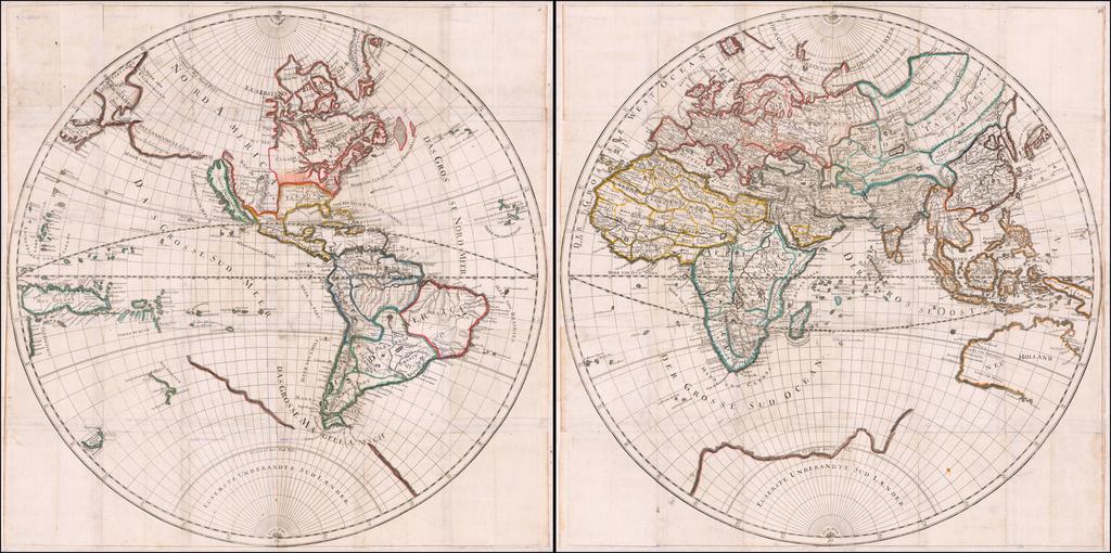 [Wall Map of the World -- Totius Terrarum Orbis Geographica Descriptio . . . 1682] By Hans Georg Bodenehr