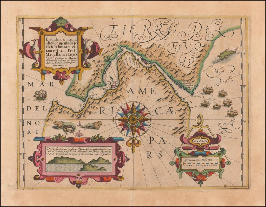 Exquisita & magno aliquot mensium periculo Lustrata et iam retecta Freti Magellanici Facies . . . By Gerard Mercator