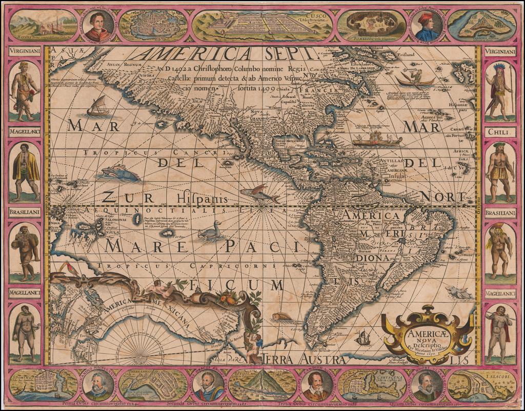 Americae Nova Descriptio . . . 1650 By Pieter van den Keere / Nicolaes Visscher I