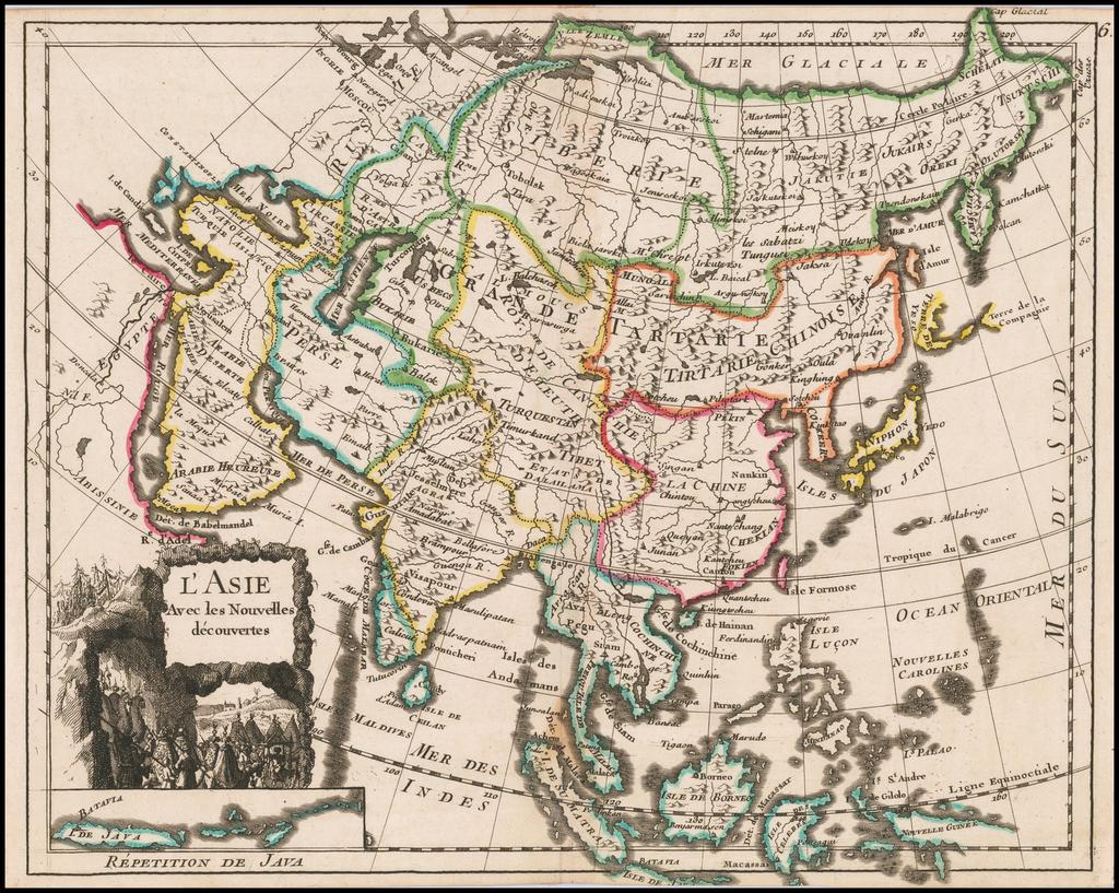 L'Asie Suivant les Nouvelles Observations . . . 1746 By George Louis Le Rouge