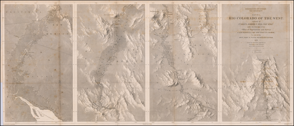 Map No. 1. Rio Colorado of the West explored by 1st. Lieut. Joseph C. Ives, Topl. Engrs. under the direction of the Office of Explorations and Surveys  - 1858 - drawn by Frhr. F. W.v. Egloffstein.  Topographer to the Expedition. By Joseph C. Ives