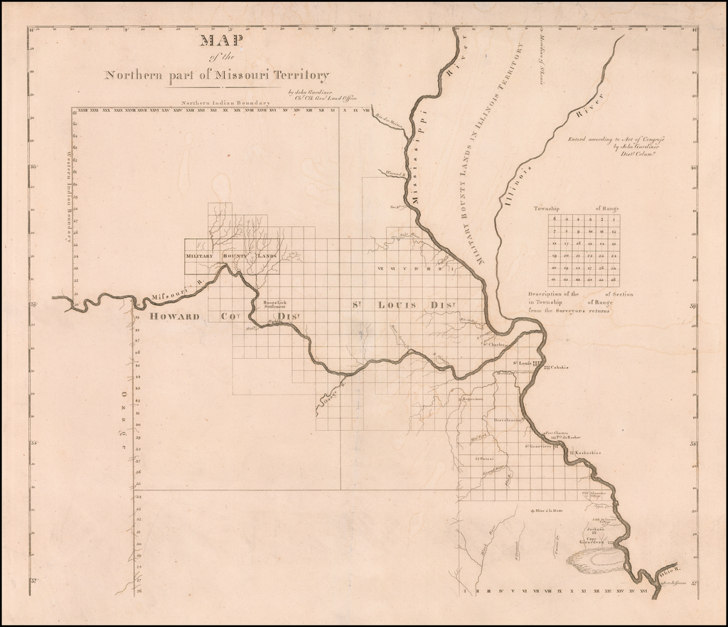 Map of the Northern Part of Missouri Territory By John Gardiner