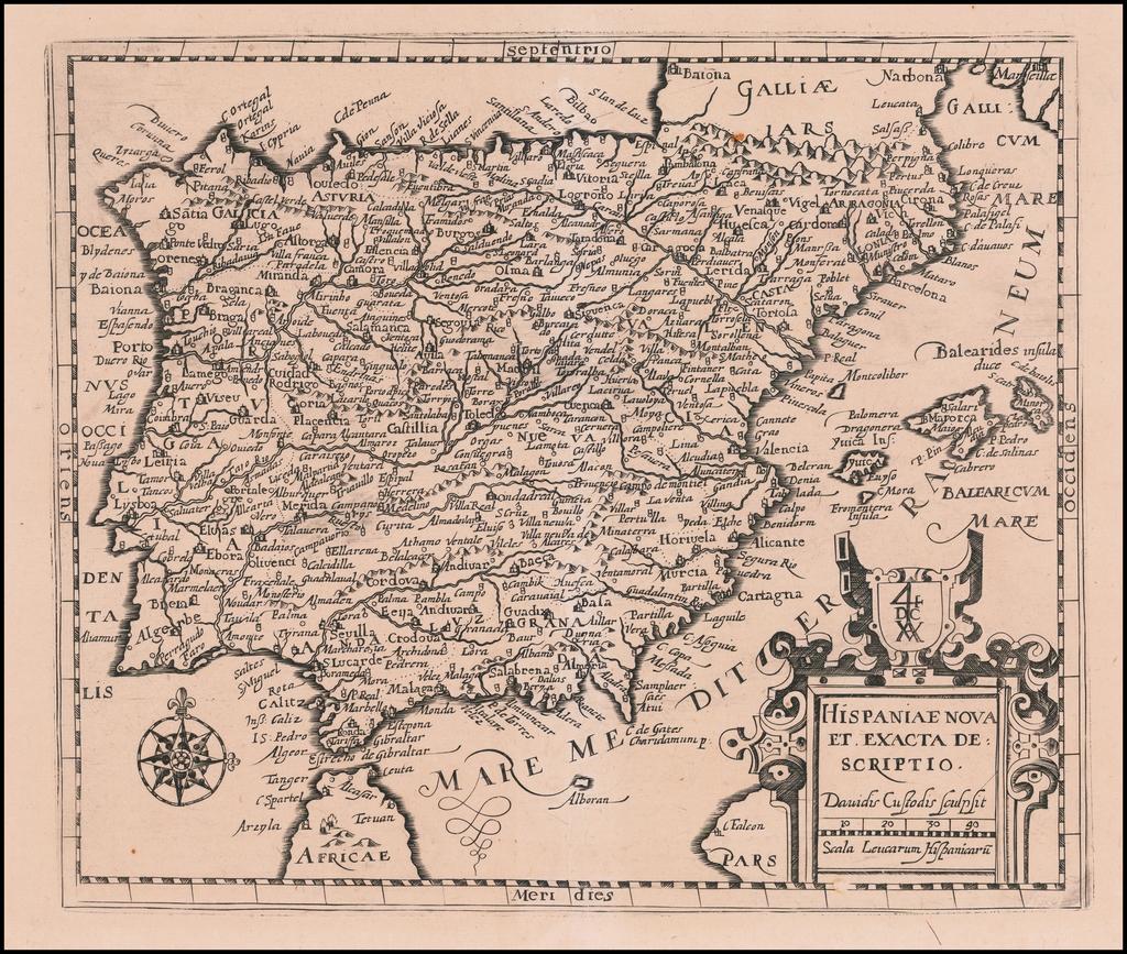 Hispania Nova et Exacta Descriptio By David Custodis
