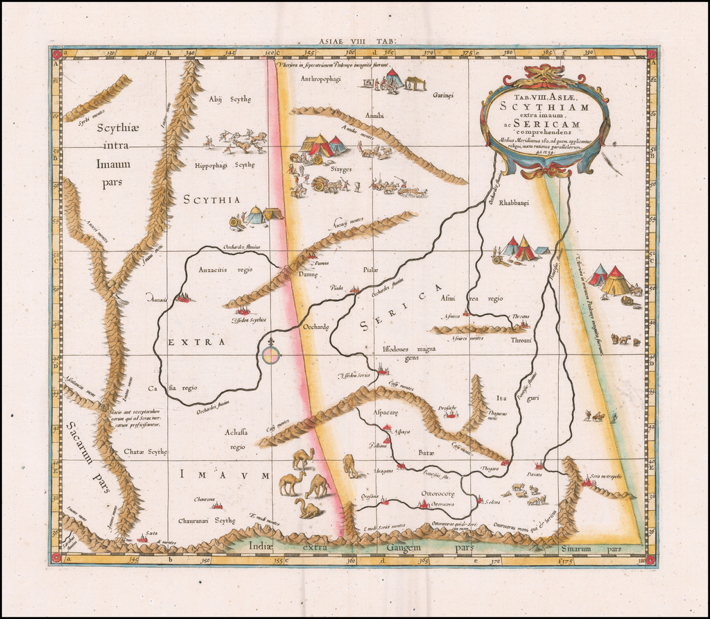 (Tajikistan, Kyrgyzstan and Western China) Tab. XIII. Asiae Scythiam Extra Imaum ac Sericam  By  Gerard Mercator