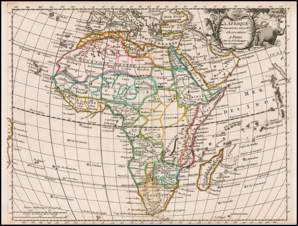 L'Afrique Suivant les Nouvells. Observations . . . 1748 By Georges Louis Le Rouge