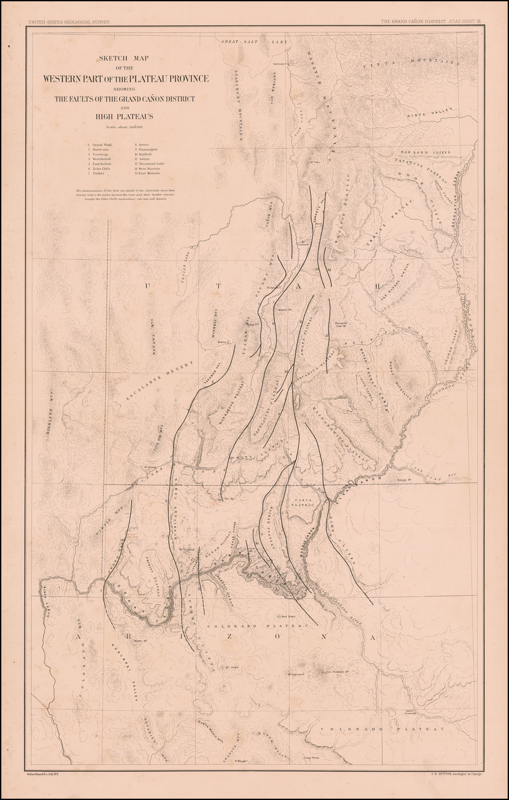 Sketch Map of the Western Part of the Plateau Province Showing the Faults of the Grand Cañon District and High Plateaus By Clarence E. Dutton