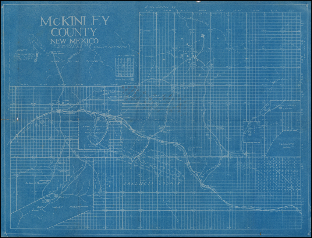(New Mexico Oil)  McKinley County New Mexico Drawn and For Sale By H.W. Brose, Gallup, New Mexico By H. W. Brose