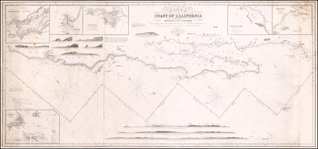 Chart of the Coast of California from San Blas to San Francisco Drawn chiefly from the Spanish Surveys, the Charts of Vancouver &c. the whole much improved by recent observations made by English and French Naval Officers . . . 1854  [Additions to 1862] By James Imray